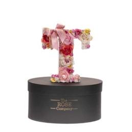 T Letter Box Με Τεχνητά Τριαντάφυλλα (Διαρκούν Για Πάντα) Με Led Φωτάκια & Swarovski Crystals. Διαθέσιμο Και σε Μπλε Χρώμα