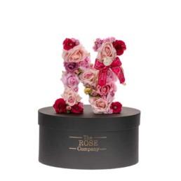 Ν Letter Box Με Τεχνητά Τριαντάφυλλα (Διαρκούν Για Πάντα) Με Led Φωτάκια & Swarovski Crystals.
