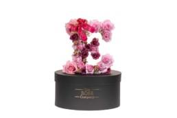Ε Letter Box Με Τεχνητά Τριαντάφυλλα (Διαρκούν Για Πάντα) Με Led Φωτάκια & Swarovski Crystals