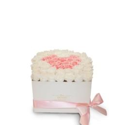 Forever Roses XL -Λευκό Κουτί Με Λευκά & Ροζ Τριαντάφυλλα XL