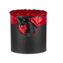 Forever Roses Jumbo Με Κόκκινα Τριαντάφυλλα Σε Μαύρο Κουτί Δώρου