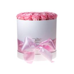Forever Roses Large Με Ροζ Τριαντάφυλλα Σε Άσπρο Κουτί Δώρου
