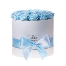 Forever Roses Medium Γαλάζια Τριαντάφυλλα Σε Άσπρο Κουτί Δώρου