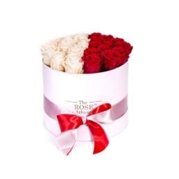 Forever Roses Medium Με Σαμπανιζέ & Κόκκινα Τριαντάφυλλα Σε Λευκό Κουτί Δώρου