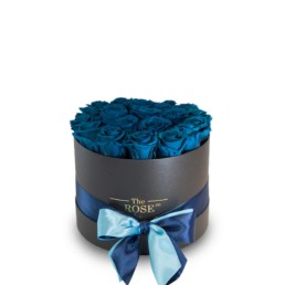 Forever Roses Medium Με Μπλε Ηλεκτρίκ Τριαντάφυλλα Σε Μαύρο Κουτί Δώρου