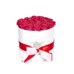 Forever Roses Medium Με Φούξια Τριαντάφυλλα Σε Λευκό Κουτί Δώρου