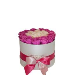 Forever Roses Medium Με Ροζ & Σαμπανιζέ Τριαντάφυλλα Σε Λευκό Κουτί Δώρου