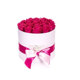 Forever Roses Medium Με Φούξια Τριαντάφυλλα Σε Ροζ Κουτί Δώρου