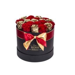 Forever Roses Medium Με Χρυσά & Κόκκινα Τριαντάφυλλα Σε Μαύρο Κουτί Δώρου