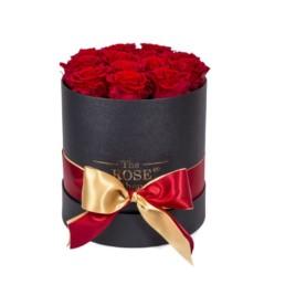 Forever Roses Midi Με Κόκκινα Τριαντάφυλλα Σε Μαύρο Κουτί Δώρου