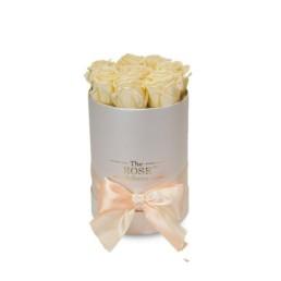 Forever Roses Small Με Σαμπανιζέ Τριαντάφυλλα Σε Λευκό Κουτί Δώρου