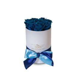 Forever Roses Small Με Τριαντάφυλλα Σε Χρώμα Σκούρο Μπλε Σε Λευκό Κουτί Δώρου