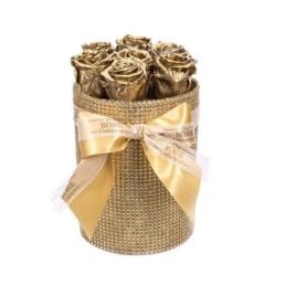 Forever Roses Small Με Χρυσά Τριαντάφυλλα Σε Χρυσό Κουτί Δώρου Forever Princess