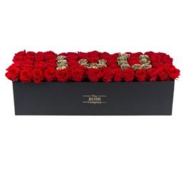 Forever Roses - Μαύρο Κουτί Με Κόκκινα & Χρυσά Τριαντάφυλλα XXL