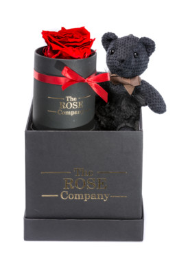 Κουτί Δώρου Hamper Black Fur Teddy Mini Red Forever Rose