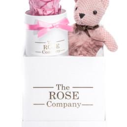 Κουτί Hamper White Pink Fur Teddy Mini Με Ροζ Τριαντάφυλλο Forever