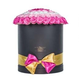Forever Roses -Μαύρο κουτί με φούξια τριαντάφυλλα Jumbo