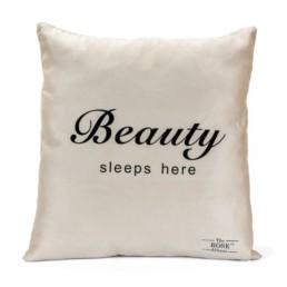 Χειροποίητο μαξιλάρι & κάλυμμα«Beauty Sleeps here»