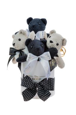 Κουτί Δώρου Baby Σε Λευκό Με Μαύρα & Λευκά Αρκουδάκια «Bear Box»