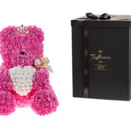 Toyflower χειροποίητο από ροζ τριαντάφυλλα με σχήμα καρδιά και κορόνα
