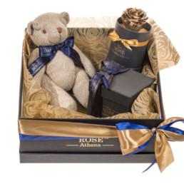 Κουτί Hamper Με Knitted Teddy, Χρυσό Forever Rose και Κεράκι