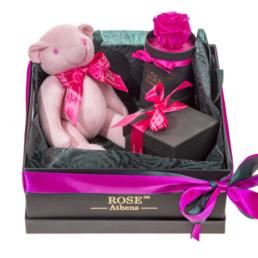 Κουτί Hamper Με Knitted Teddy, Φούξια Forever Rose και Κεράκι