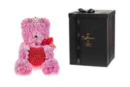 Τoyflower 45εκ Χειροποίητο Από Ροζ Τριαντάφυλλα Με Καρδιά Και Κορόνα