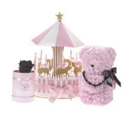 Κουτί Hamper XL Ροζ Για Πάρτι Με Μεγάλο Καρουζέλ, Γλυκίσματα, Toyflower Με Κρύσταλλα, Mini Forever Rose Σε Χρώμα Επιλογή Σας.