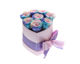 Forever Roses Small με Rainbow τριαντάφυλλα σε κουτί καρδιά