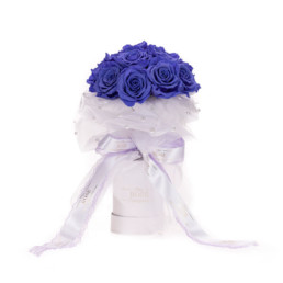 Forever Roses Bridal Bouquet With Lilac Roses, Tulle & Pearls (available in 20 different colours)