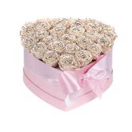 Forever Roses Large Flower Box Με White Ombré Τριαντάφυλλα Σε Ροζ Κουτί Καρδιά