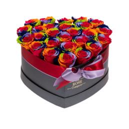 Forever Roses Large Flower Box Με Rainbow Τριαντάφυλλα Σε Μαύρο Κουτί Καρδιά