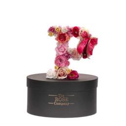 P Letter Box Με Τεχνητά Τριαντάφυλλα (Διαρκούν Για Πάντα) Με Led Φωτάκια & Swarovski Crystals