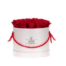 Forever Roses Medium Flower Box Με Κόκκινα Τριαντάφυλλα Σε Λευκό Κουτί Jewellery