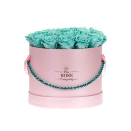 Forever Roses Medium Flower Box Με Tiffany Blue Τριαντάφυλλα Σε Ροζ Κουτί Jewellery