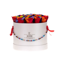 Forever Roses Medium Flower Box Με Rainbow Τριαντάφυλλα Σε Λευκό Κουτί Jewellery