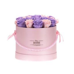 Forever Roses Medium Flower Box Με Ροζ & Λιλά Τριαντάφυλλα Σε Ροζ Κουτί