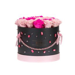 Forever Roses Medium Flower Box With Mixed Pink And Fuchsia Roses Limited (Crystals) In Black Jewellery Gift Box