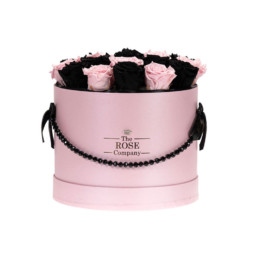 Forever Roses Medium Flower Box Με Μαύρα & Ροζ Ombré Τριαντάφυλλα Σε Ροζ Κουτί