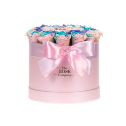 Forever Roses Medium Flower Box With Rainbow Roses In Pink Luxury Gift Box