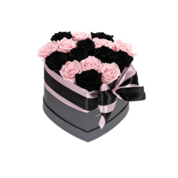 Forever Roses Medium Flower Box Με Ροζ & Μαύρα Τριαντάφυλλα Σε Μαύρο Κουτί Καρδιάς