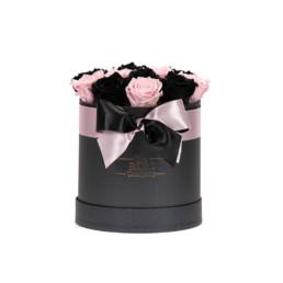 Forever Roses Midi Flower Box Με Ροζ & Μαύρα Τριαντάφυλλα Σε Μαύρο Κουτί