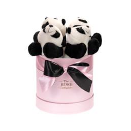 Hamper Box Με Μεγάλα Panda Σε Ροζ Κουτί