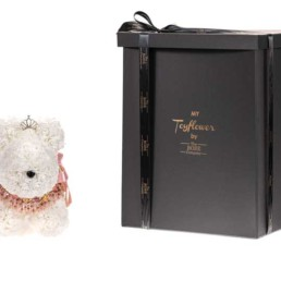 Toyflower Puppy Με Λευκά Τριαντάφυλλα, Μπιζού & Κορόνα, 48εκ