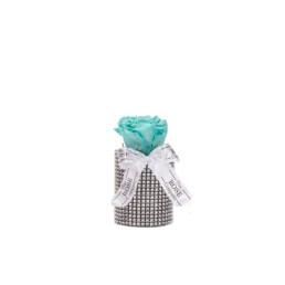 Forever Roses Mini Με Tiffany Blue Τριαντάφυλλα Σε Ασημί Κουτί Princess