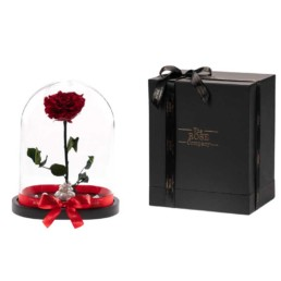 Beauty & The Beast Exclusive Xxl Dome Double Forever Roses Ροζ & Μαύρο Περιλαμβάνει Και Το Κουτί