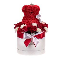 Forever Roses White Medium Box With Red & White Roses + Toyflower