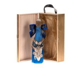 Κούτι Hamper Μεγάλο Royal Blue Glam Champagne Σε Large Signature Χρυσό Κούτι