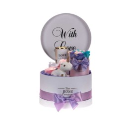 """Hamper Unicorn """"With Love"""" (Forever Pink Babybox With Rainbow Roses)Unicorn Keychain, Candle Love Is In The Air (You Can Pick Up Any Candle Of Your Choice)"""