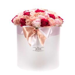 Forever Roses Jumbo Κουτί Λευκο Με Ροζ Τριαντάφυλλα Mix (50cm)